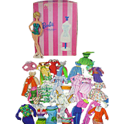Whiteman Barbie Fahsion WIndow Wardrobe Paper Dolls, 1965, Cut