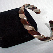 Silver and Brass Cuff Bracelet, Stamped