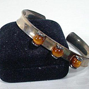 Erik Granit Modnerist Sterling Silver and Tiger's Eye Bracelet, 1970's