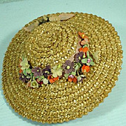 Vintage Madame Alexander Cissy Size Straw Hat with Flower Trim, 1950's