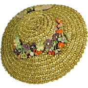 Vintage Madame Alexander Cissy Size Straw Hat with Flower Trim, 1950's