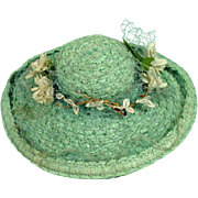 Vintage Madame Alexander Cissy Blue Straw Picture Hat with Flowers, 1950's