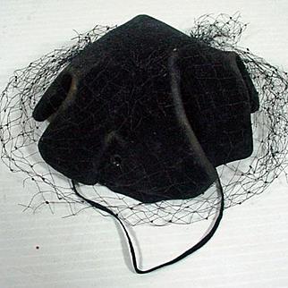 Vintage Madame Alexander Cissy Black Cocktail Hat, 1950's