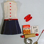 Vintage Mattel Skipper Outfit, Cookie Time, 1965, Complete!