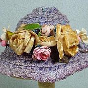 Madame Alexander Cissy Blue Woven Straw Hat w/Flowers, 1950's