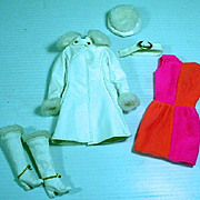 VIntage Mattel Barbie Outfit, Red, White 'N Warm, 1969