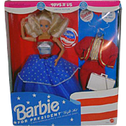 Mattel NRFB Barbie For President Gift Set, 1991!