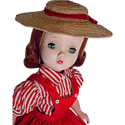 Vintage Madame Alexander Cissy In Day Dress and Hat, 1955
