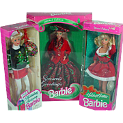 Lot of 1990's Christmas Barbie's, NRFB!