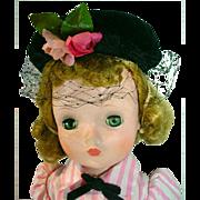 Vintage Madame Alexander Cissy in Day Dress & Hat, 1956
