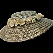 Vintage Madame Alexander Cissy Blue Straw Hat, 1950's