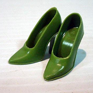 Vintage Barbie Olive Green Spike High Heels, Mattel, 1960's