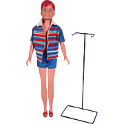 Mattel Ricky Doll w/ Original Outfit and Stand, 1965