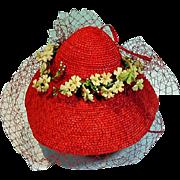 Vintage Madame Alexander Red Cissy Hat, 1950's