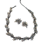 Trifari Brushed Faux Silver Leaf Necklace and Earrings Set, 1960's