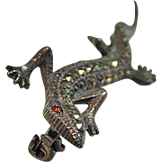 Vintage Marcasite and Sterling Lizard Brooch, 1950's