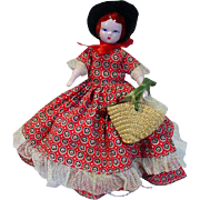 Vintage Ruth Gibbs China Doll with Bonnet and Purse, 1940's