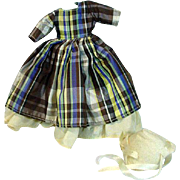 Vintage Ruth Gibbs China Doll Dress and Bonnet, 1940's