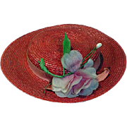 Vintage Madame Alexander Elise Size Red Hat with Flowers, 1950's