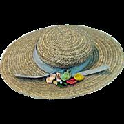 Vintage Madame Alexander Elise Size Spring Hat with Flowers, 1950's