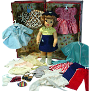 Pat. Pending Terri Lee Doll w/ Wardrobe & Trunk, 1950's