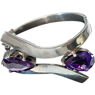 Vintage Mexican Sterling Silver & Amethyst Bracelet, Taxco, LC