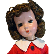 "Vintage Hard Plastic 20"" Un-Marked Brunette Doll, 1950's"