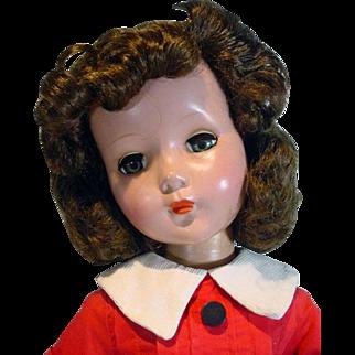 """Vintage Hard Plastic 20"""" Un-Marked Brunette Doll, 1950's"""