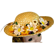 Madame Alexander Cissy Size Straw Hat with Silk Flowers