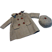 Vintage Wool Check Doll's Coat and Matching Hat, 1940's