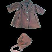 Vintage Cordoruy Doll Coat & Matching Bonnet, 1950's