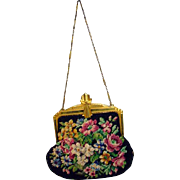 Vintage Whiting and Davis Needlepoint Evening Bag, 1940's
