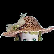 Vintage Madame Alexander Cissy Size Pink Straw Hat, 1950's