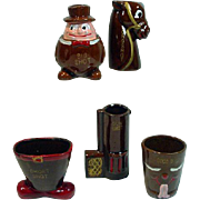 Vintage, Ceramic, Set of 6 Novelty Shot Glasses