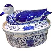 Blue Wear Tureen with Duck Cover
