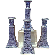 Vintage, Blue wear, Set of 4 Porcelain Candlesticks