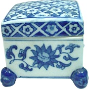 Vintage, Blue Wear, Footed Cover Box with Qianlong Markings