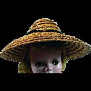 Vintage Madame Alexander Cissy Size Straw Beach Hat, 1950's
