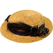 Vintage Straw Hat for Antique Doll