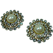 Les Bernard Runway Faux Pearl and Rhinestone Earrings, 1980's