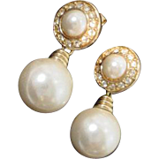 Classic Dior Faux Pearl Drop Pierced Earrings, 1990's