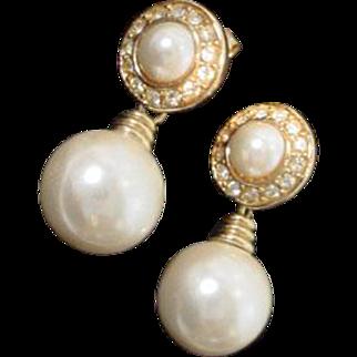 Classic Dior Faux Pearl Drop Pierced Earrings, 1990's