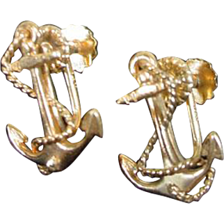 14K Gold Ladies Anchor and Rope Screw Back Earrings