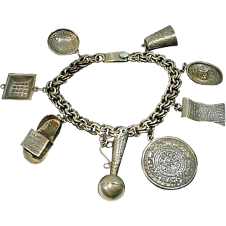 Vintage 1950's Sterling Silver Mexican Charm Bracelet
