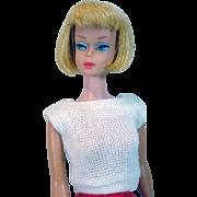 Mattel 1965 Blond American Girl Barbie W/ Dark Pink Lips