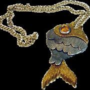 Bold Vintage Fish Pendant, 1970's