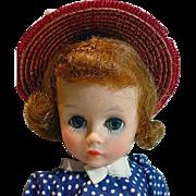 Madame Alexander Cissette in Navy Polka Dot Day Dress, 1958
