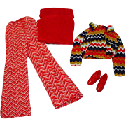 Vintage Mattel Barbie Outfit, The Zig Zag Bag, 1971