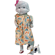 """Vintage 1930's Bisque  7 1/2"""" Doll with Dog, Japan"""