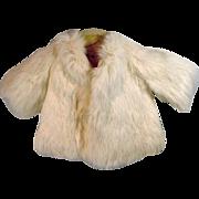 VIntage White Rabbit Fur Doll Coat, 1950's